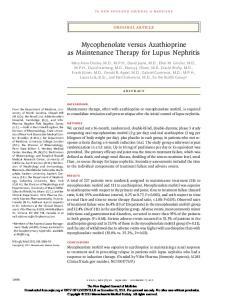 Mycophenolate versus Azathioprine as Maintenance Therapy for Lupus Nephritis
