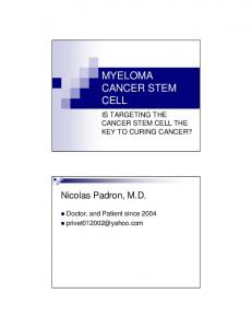 MYELOMA CANCER STEM CELL