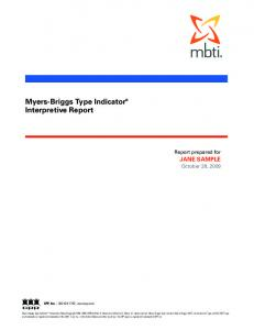 Myers-Briggs Type Indicator Interpretive Report