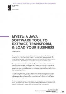 MYETL: A JAVA SOFTWARE TOOL TO EXTRACT, TRANSFORM, & LOAD YOUR BUSINESS