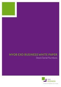 MYOB EXO BUSINESS WHITE PAPER