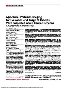 Myocardial Perfusion Imaging for Evaluation and Triage of Patients With Suspected Acute Cardiac Ischemia JAMA. 2002;288: