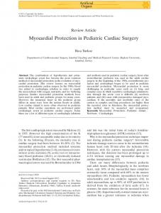 Myocardial Protection in Pediatric Cardiac Surgery