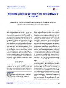 Myoepithelial Carcinoma of Soft Tissue: A Case Report and Review of the Literature