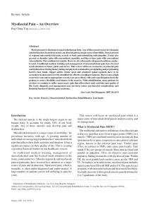 Myofascial Pain An Overview