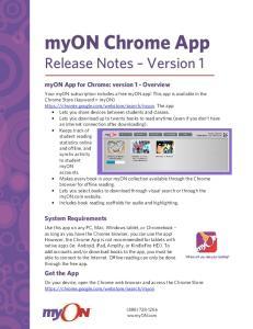 myon Chrome App Release Notes Version 1 myon App for Chrome: version 1 - Overview