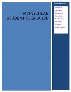 MYPSYCHLAB STUDENT USER GUIDE
