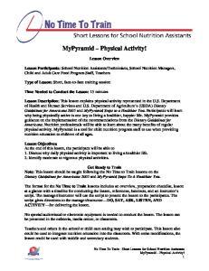 MyPyramid Physical Activity!