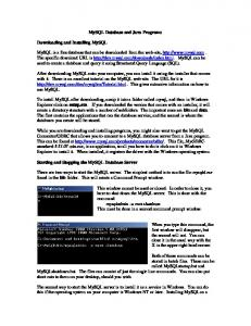 MySQL Database and Java Programs
