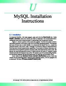 MySQL Installation Instructions