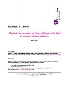 Mystical interpretation of Song of Songs in the light of ancient Jewish mysticism
