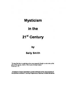 Mysticism. in the. Sally Smith