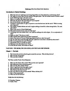 Mythology (Hamilton) Study Guide Questions