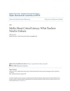 Myths About Critical Literacy: What Teachers Need to Unlearn