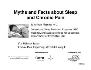 Myths and Facts about Sleep and Chronic Pain