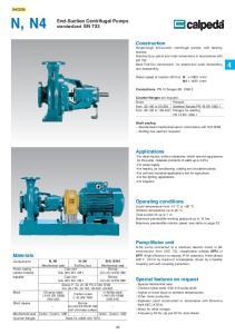 N, N4. End-Suction Centrifugal Pumps standardized EN 733