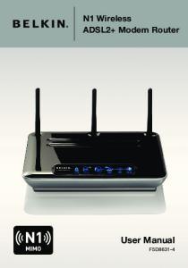 N1 Wireless ADSL2+ Modem Router. User Manual F5D8631-4