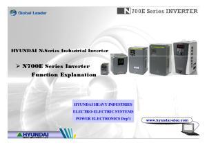 N100700E Series INVERTER. N700E Series Inverter Function Explanation. HYUNDAI N-Series Industrial Inverter
