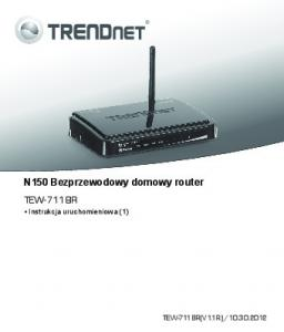 N150 Bezprzewodowy domowy router TEW-711BR Instrukcja uruchomieniowa (1)