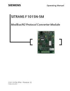 N2 Protocol Converter Module. CQO:1015N-5FM-1 Revision 02 Printing January 2012
