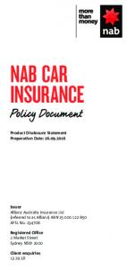 NAB CAR INSURANCE. Policy Document. Product Disclosure Statement Preparation Date: