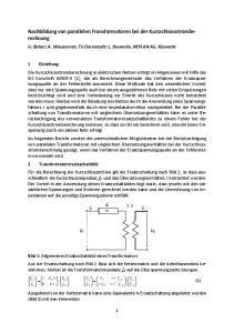 Nachbildung von parallelen Transformatoren bei der Kurzschlussstromberechnung