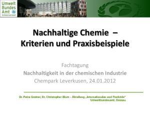 Nachhaltige Chemie Kriterien und Praxisbeispiele