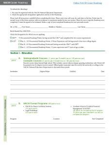 NACM Career Roadmap. Online NACM Career Roadmap. Section I Education