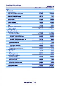 NADEX CO., LTD. Consolidated Balance Sheets