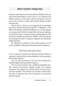 Nam-myoho-renge-kyo. The Title of the Lotus Sutra
