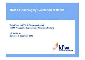 NAMA Financing by Development Banks