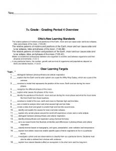Name. 7th Grade - Grading Period 4 Overview