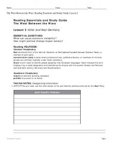 Name: Class: Date: The West Between the Wars: Reading Essentials and Study Guide: Lesson 3