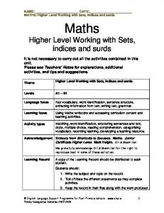 NAME: DATE: MATHS: Higher Level Working with Sets, indices and surds. Maths. Higher Level Working with Sets, indices and surds