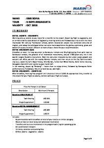 NAME : KBRI SOFIA TOUR : 3 DAYS JOGJAKARTA VALIDITY : OCT 2013