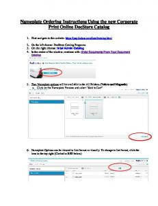 Nameplate Ordering Instructions Using the new Corporate Print Online DocStore Catalog