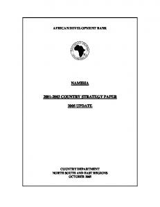 NAMIBIA COUNTRY STRATEGY PAPER 2005 UPDATE