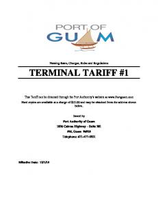 Naming Rates, Charges, Rules and Regulations TERMINAL TARIFF #1