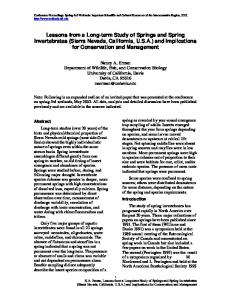 Nancy A. Erman Department of Wildlife, Fish, and Conservation Biology University of California, Davis Davis, CA