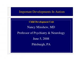 Nancy Minshew, MD. June 5, Pittsburgh, PA