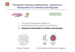 Nanopartikel zur Therapie und Diagnose