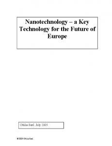 Nanotechnology a Key Technology for the Future of Europe