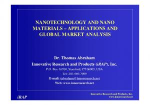 NANOTECHNOLOGY AND NANO MATERIALS APPLICATIONS AND GLOBAL MARKET ANALYSIS