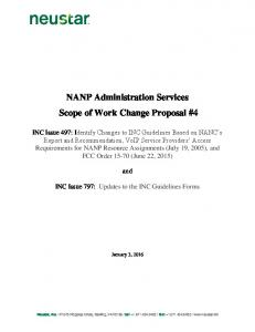 NANP Administration Services Scope of Work Change Proposal #4