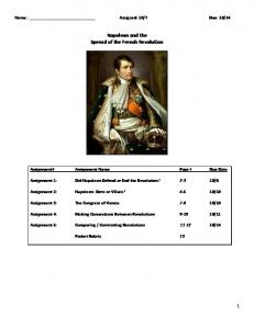 Napoleon and the Spread of the French Revolution