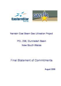 Narrabri Coal Seam Gas Utilisation Project. PEL 238, Gunnedah Basin New South Wales. Final Statement of Commitments