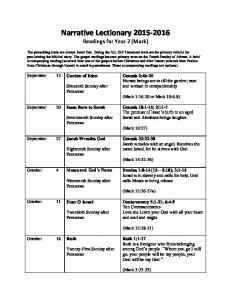 Narrative Lectionary Readings for Year 2 (Mark)