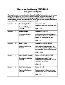 Narrative Lectionary Readings for Year 4 (John)