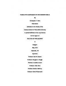 NARRATIVE OBTRUSION IN THE HEBREW BIBLE. Christopher T. Paris. Dissertation. Submitted to the Faculty of the. Graduate School of Vanderbilt University