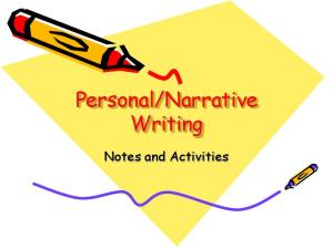 Narrative Writing. Notes and Activities